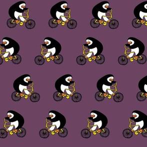 Penguins on bikes - aubergine