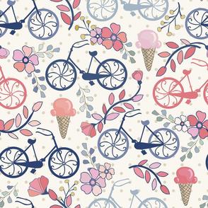 Biking for Ice Cream- Dot- Blue, Pink, Blush