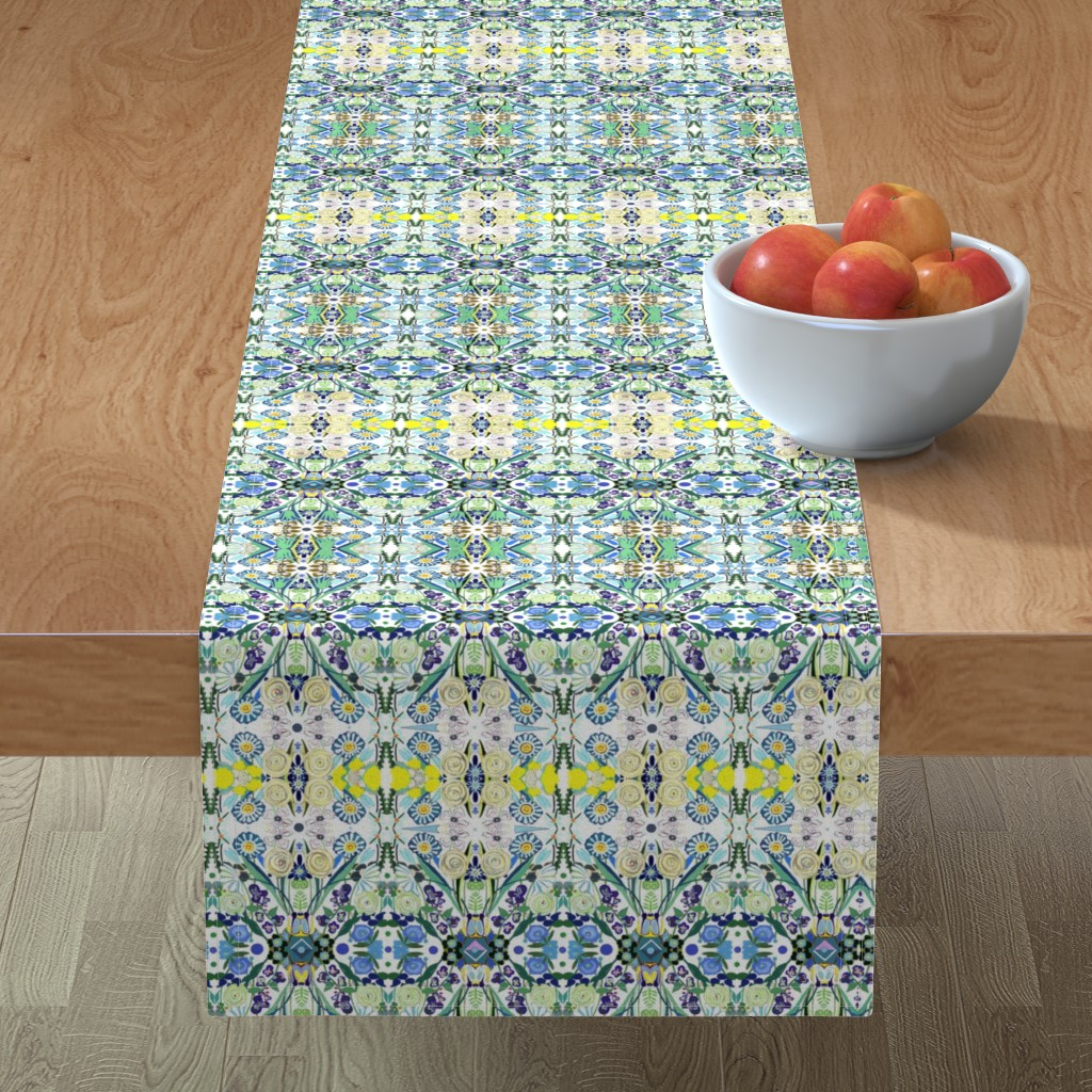 Minorca Table Runner featuring Berne Jardin 2P s by colortherapeutics