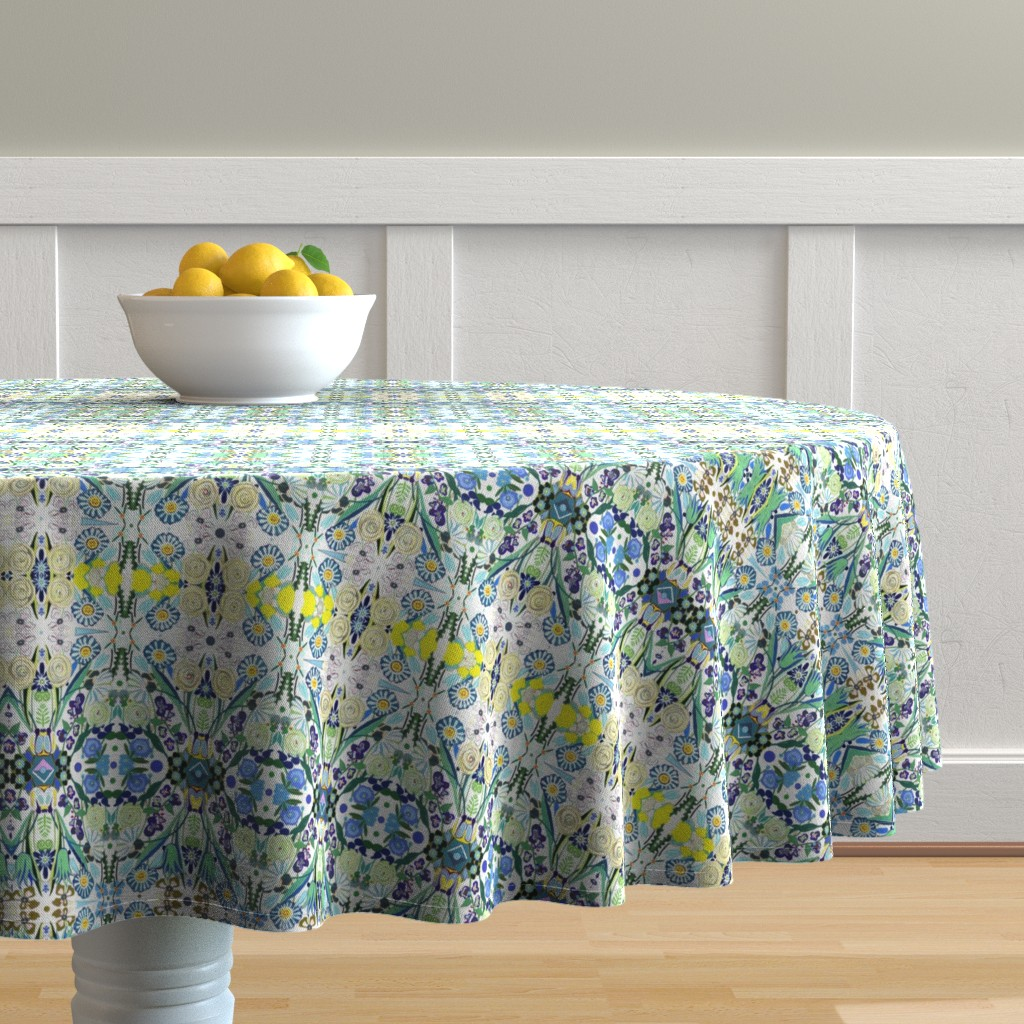 Malay Round Tablecloth featuring Berne Jardin 2P s by colortherapeutics