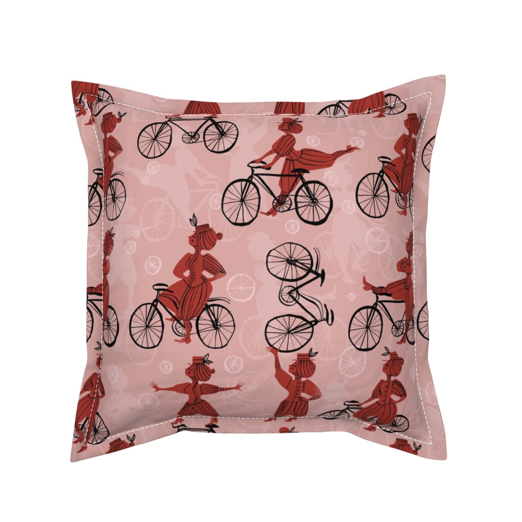 Serama Throw Pillow featuring The Velocipedestrienne by mariaspeyer