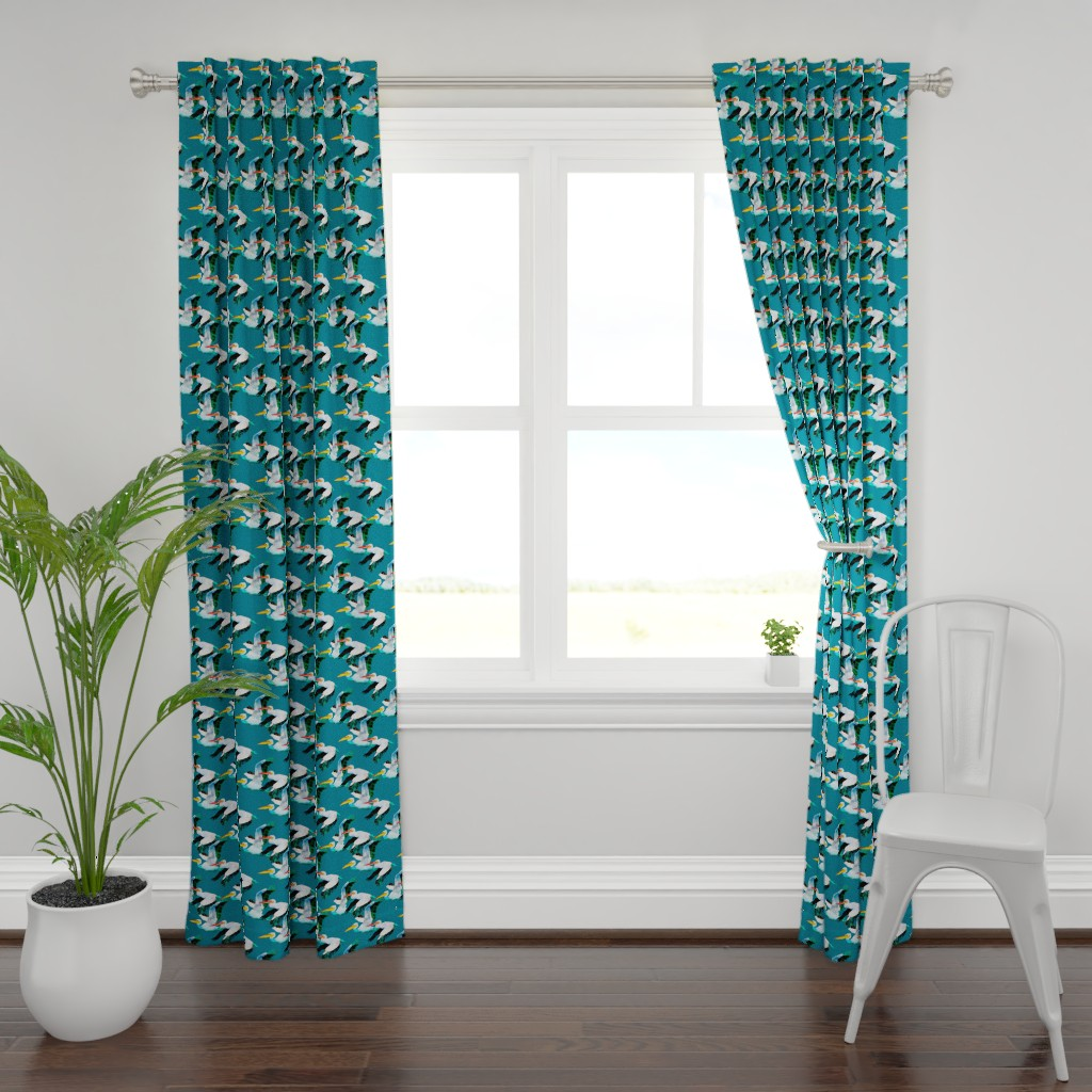 Plymouth Curtain Panel featuring Flying Pelicans on Blue by lauriekentdesigns