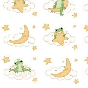 Angel Frog Moon Stars Clouds Baby Nursery