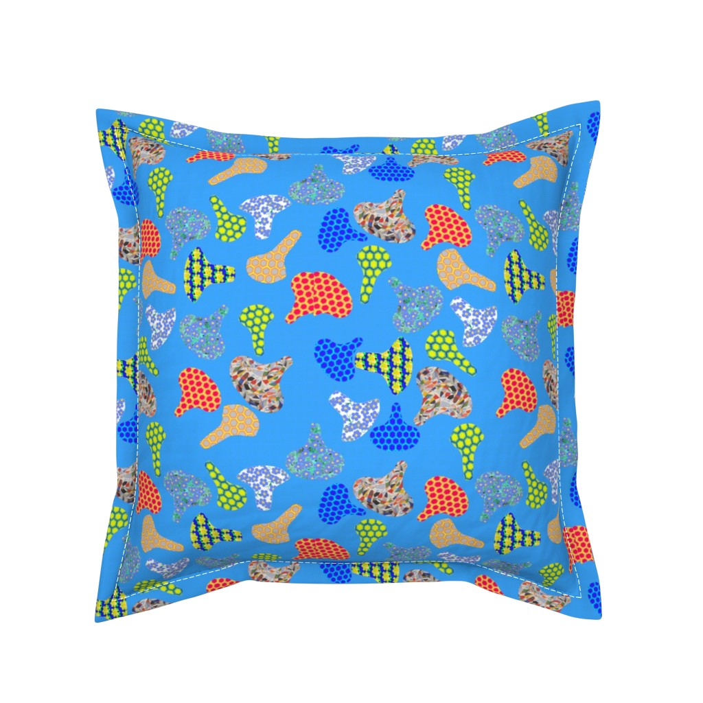 Serama Throw Pillow featuring Colorful Cycling Seats by ruthjohanna
