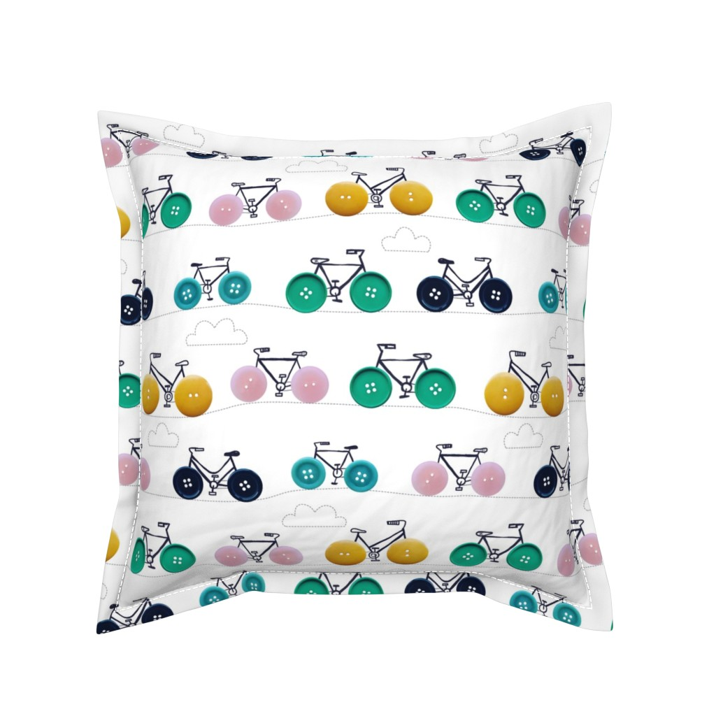 Serama Throw Pillow featuring button bikes 2 by laura_may_designs