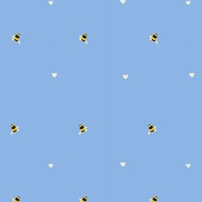 Bee and hearts//Bee fabric on clear Blue