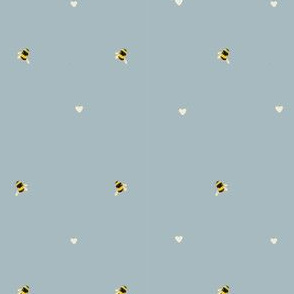 Bee and hearts fabric// Little bees and hearts in a sophisticated simple pattern