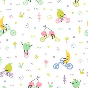 Cute fruits on bicycles. Cherry, banana, apple, lime