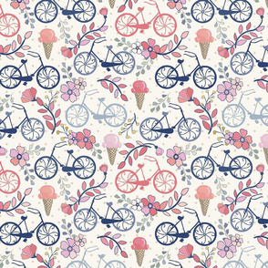 Biking for Ice Cream - Small - Dot- Pink, Blush, Blue, Navy