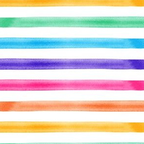 watercolor stripes - rainbow - brights