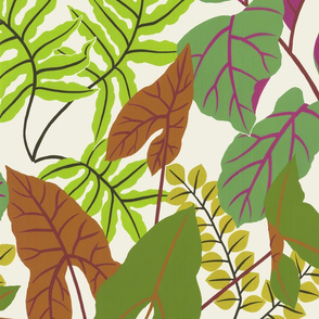 jungle leaves (green and yellow)