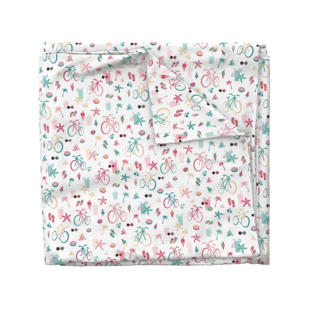 Wyandotte Duvet Cover featuring beach bikes white, green and pink by colorofmagic