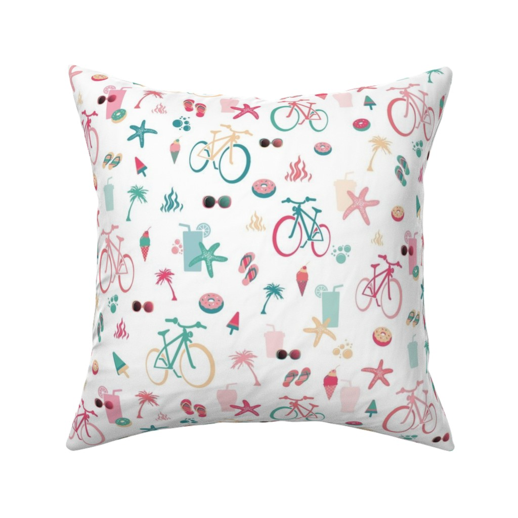 Catalan Throw Pillow featuring beach bikes white by colorofmagic