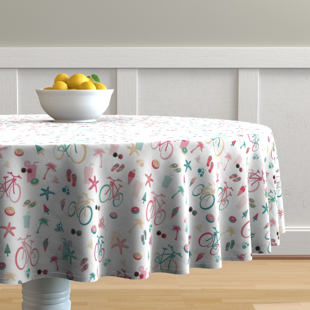 Malay Round Tablecloth featuring beach bikes white by colorofmagic