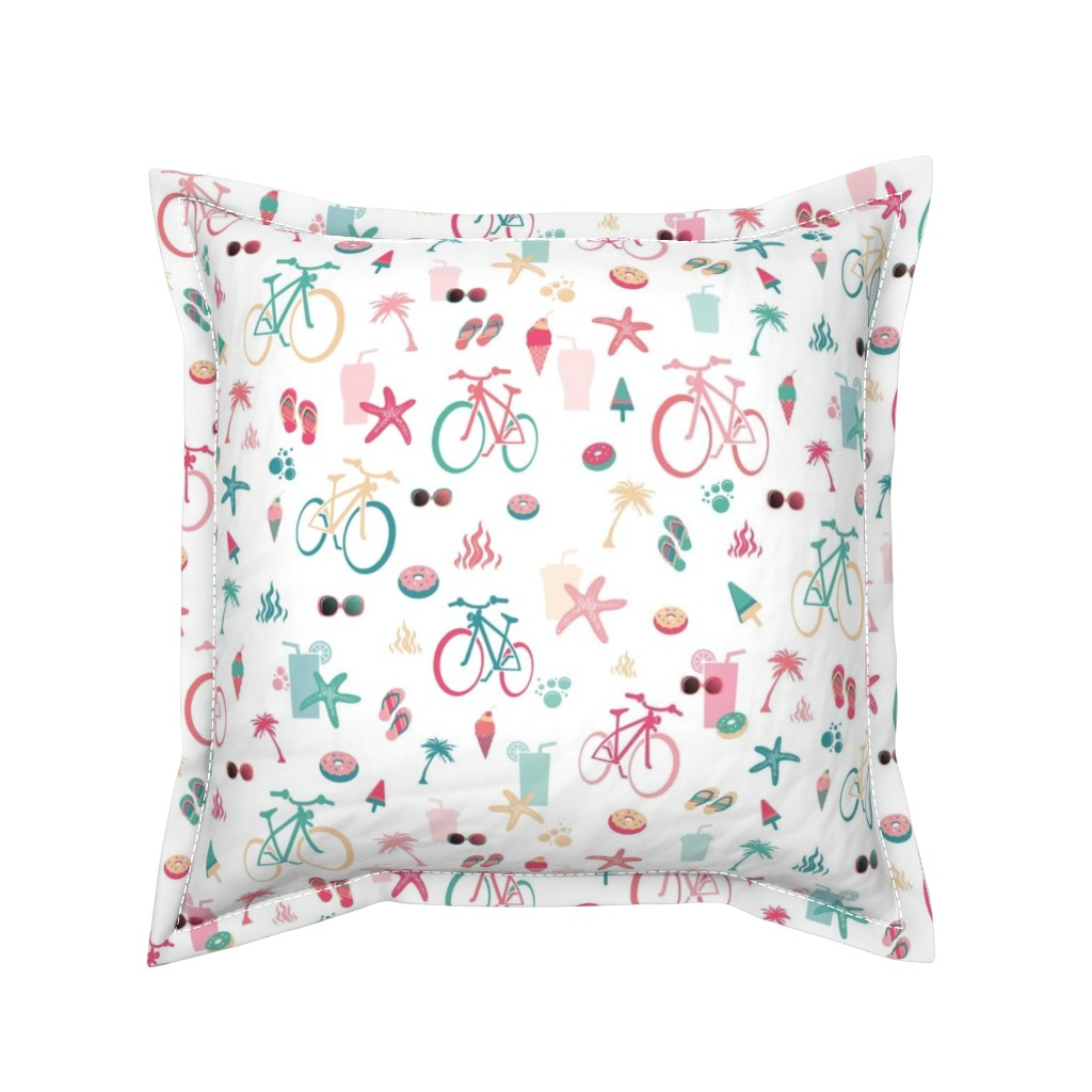 Serama Throw Pillow featuring beach bikes white, green and pink by colorofmagic