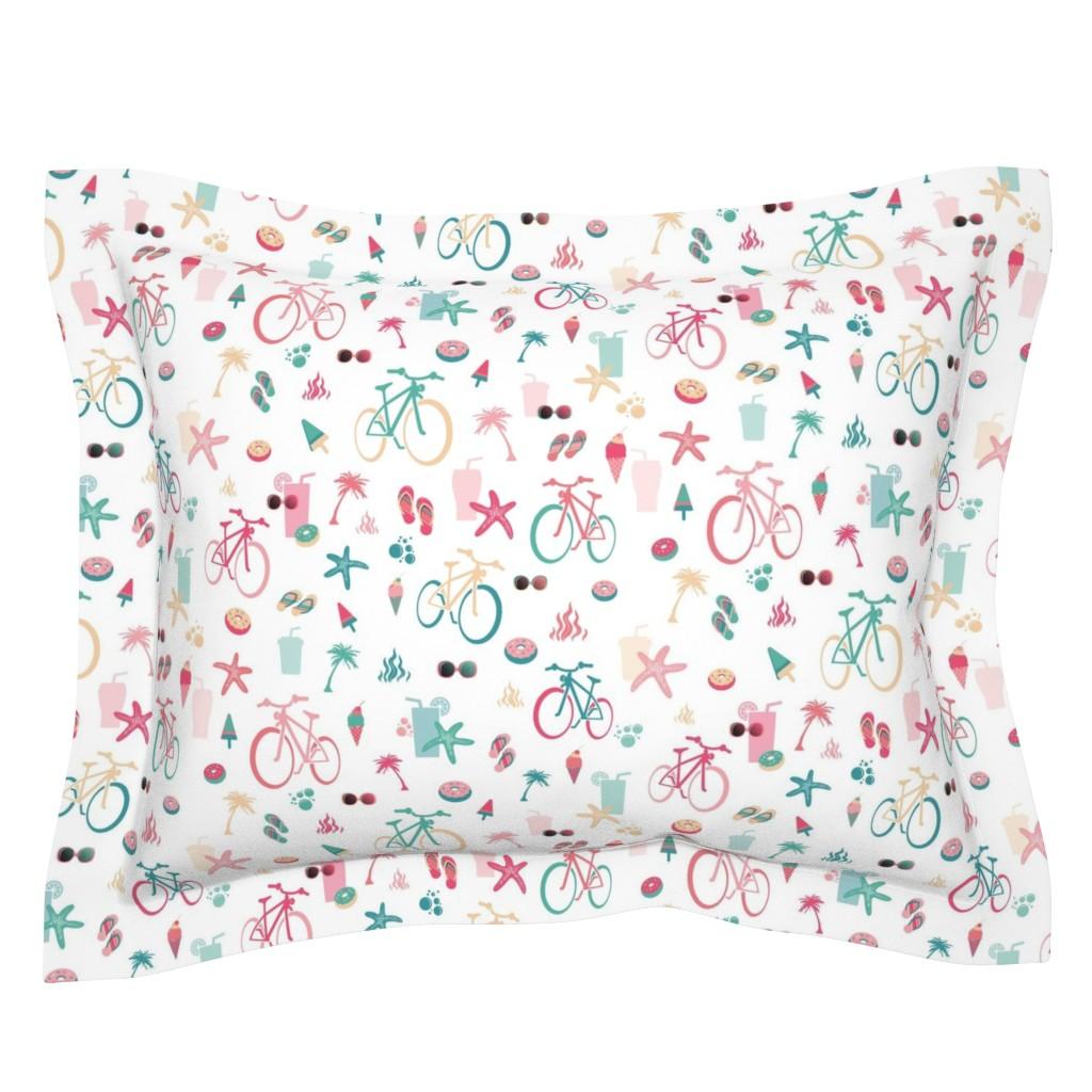 Sebright Pillow Sham featuring beach bikes white by colorofmagic