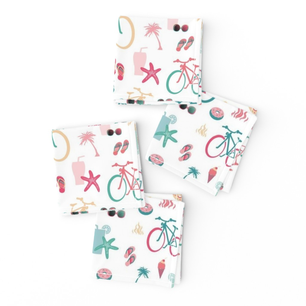 Frizzle Cocktail Napkins featuring beach bikes white by colorofmagic