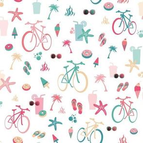 beach bikes white, green and pink