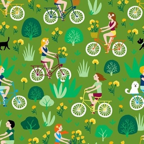 Summer bicycle ride through nature (olive)