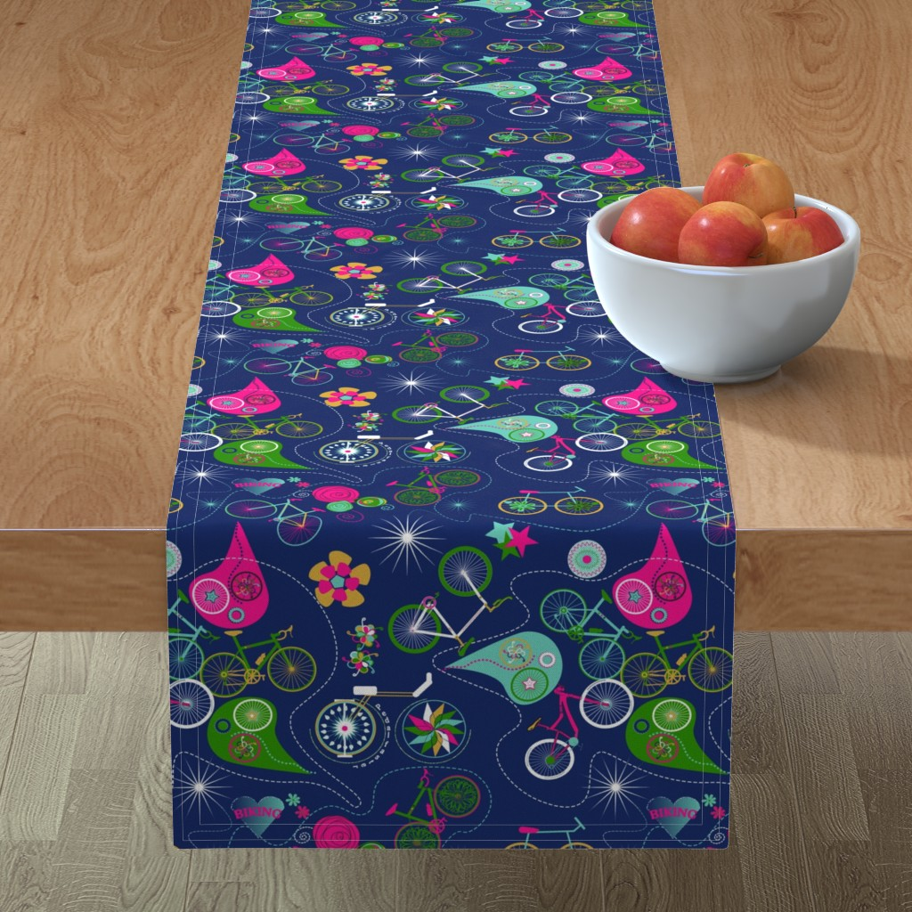 Minorca Table Runner featuring Cycledelic Navy by stasiajahadi