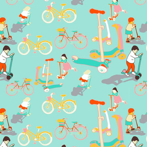 scooters and bicycles