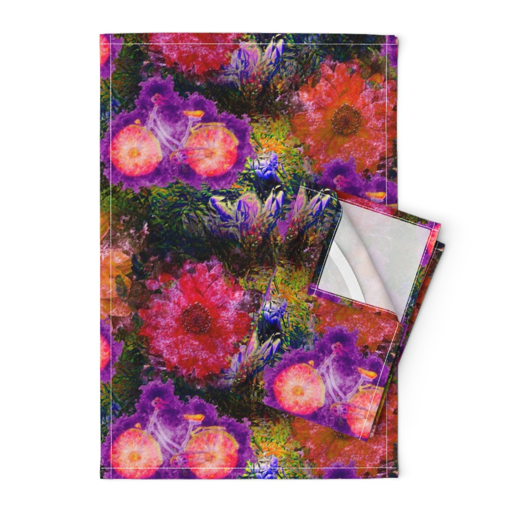 Orpington Tea Towels featuring FLOWERS BICYCLE orange purple  raspberry pink by paysmage