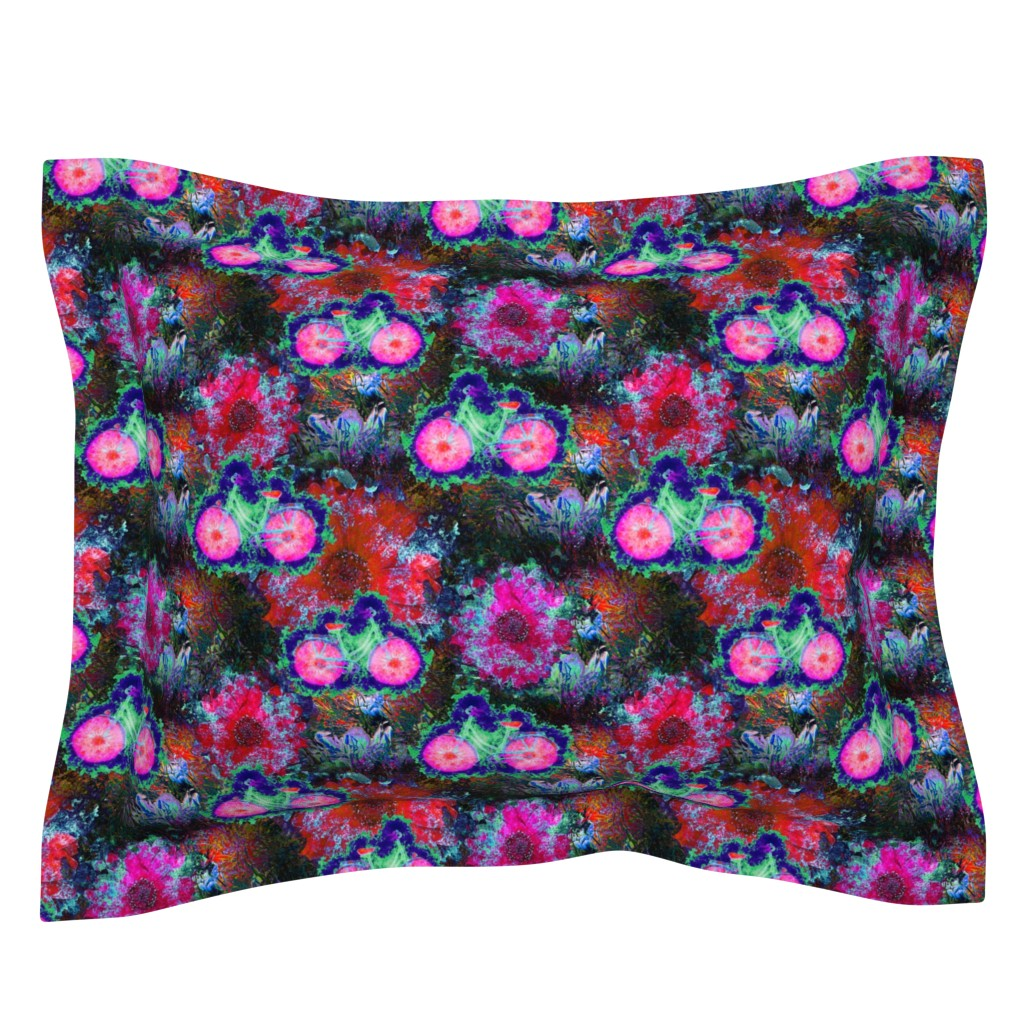 Sebright Pillow Sham featuring FLOWERS BICYCLE Fuchsia Brown green by paysmage