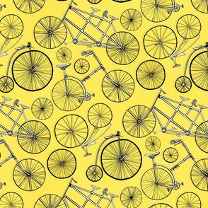 Vintage Bicycles On Bright Yellow - Big