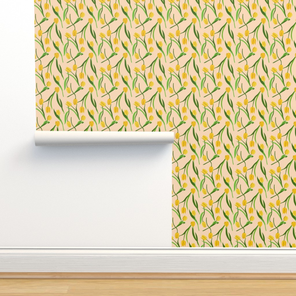 Isobar Durable Wallpaper featuring Yellow tulips on peach by new_branch_studio