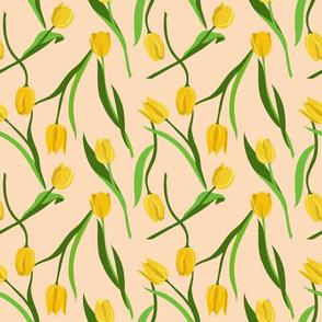 Yellow tulips on peach