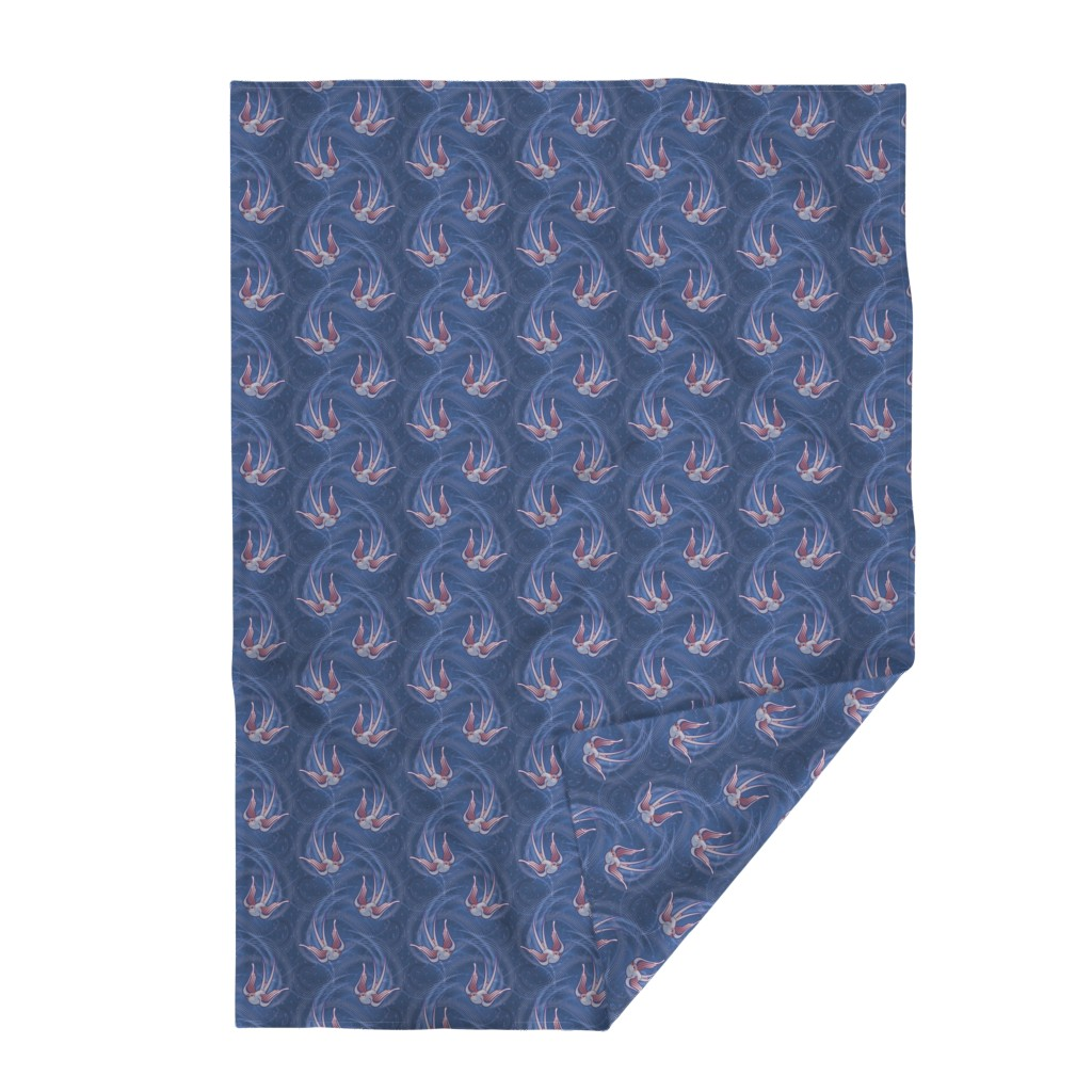 Lakenvelder Throw Blanket featuring ★ SWALLOW IN THE WIND in BLUE ★ Large Scale Print / Collection : Swallows – Rock'n'Roll Old School Swallow Tattoo Print by borderlines