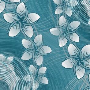 ★ HAWAII FLOWERS ★ Blue - Large Scale / Collection : Hawaiian Trip - Plumeria & Tiki for Aloha Shirt Print