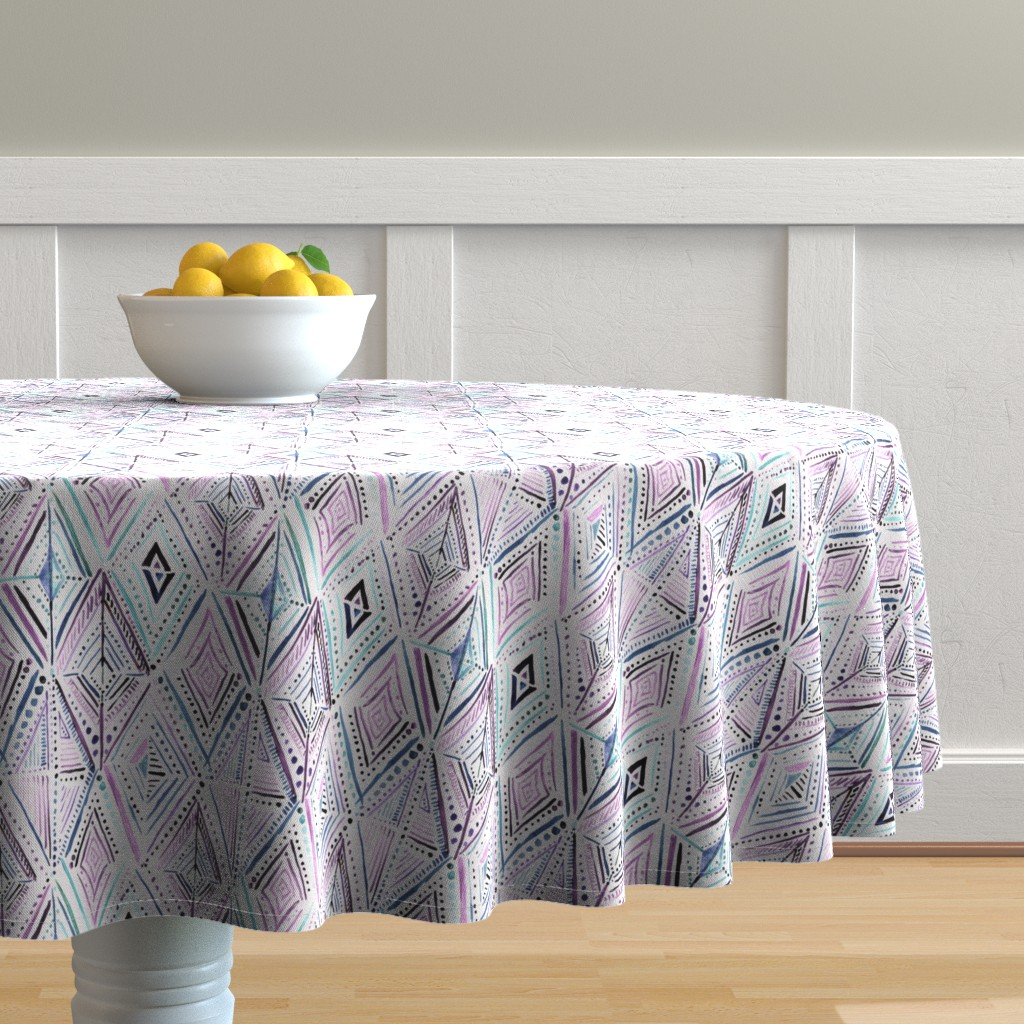 Malay Round Tablecloth featuring Boho Diamond-purple by crystal_walen