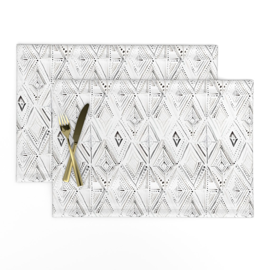 Lamona Cloth Placemats featuring Boho Diamond Black White by crystal_walen