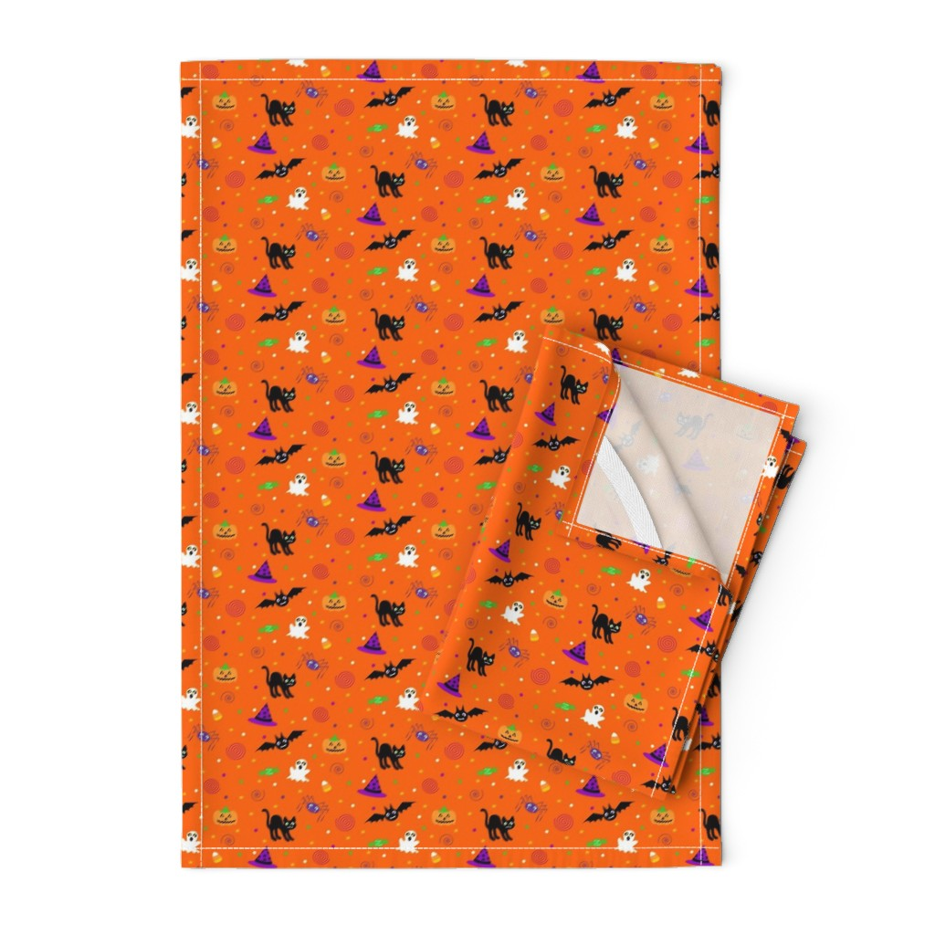 Orpington Tea Towels featuring halloween_ditsy_print_fabric by mejo
