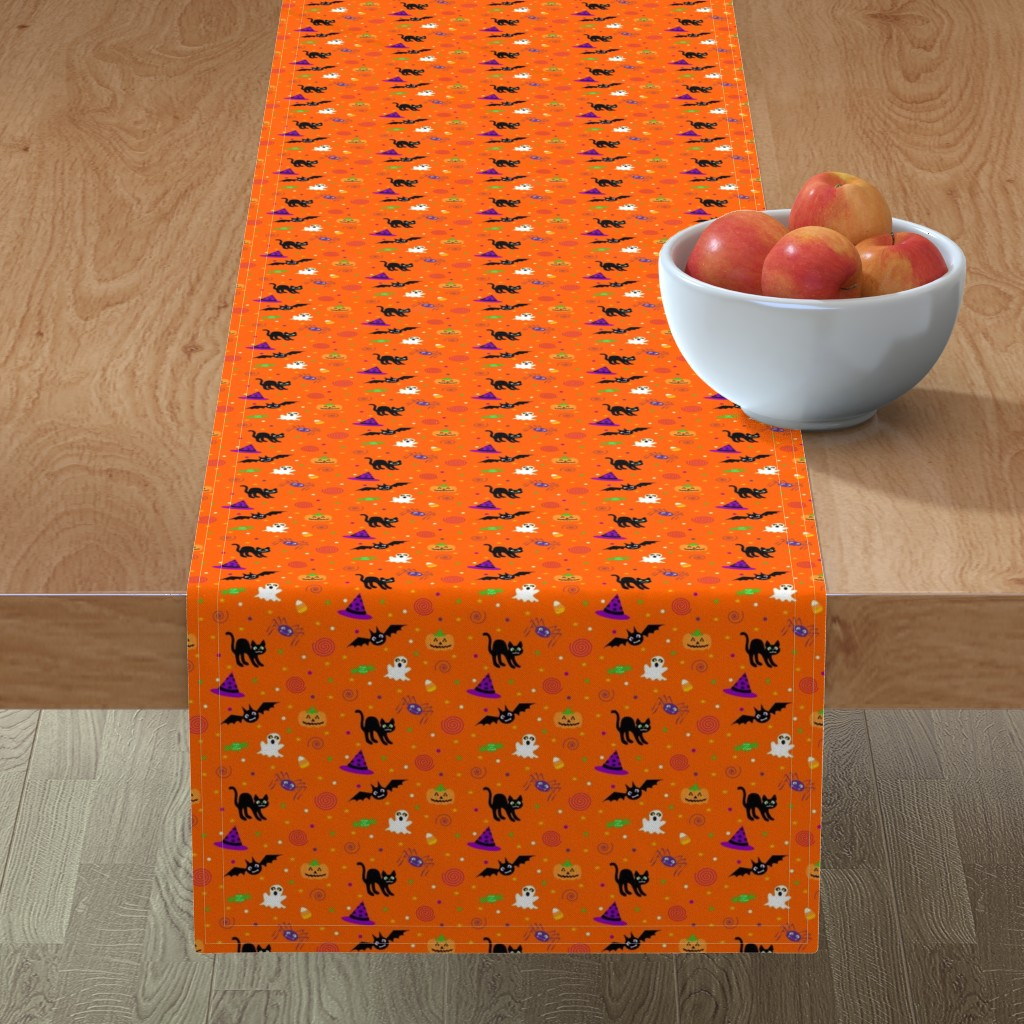Minorca Table Runner featuring halloween_ditsy_print_fabric by mejo