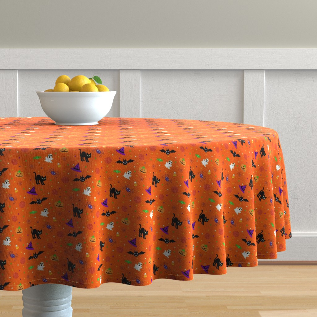 Malay Round Tablecloth featuring halloween_ditsy_print_fabric by mejo