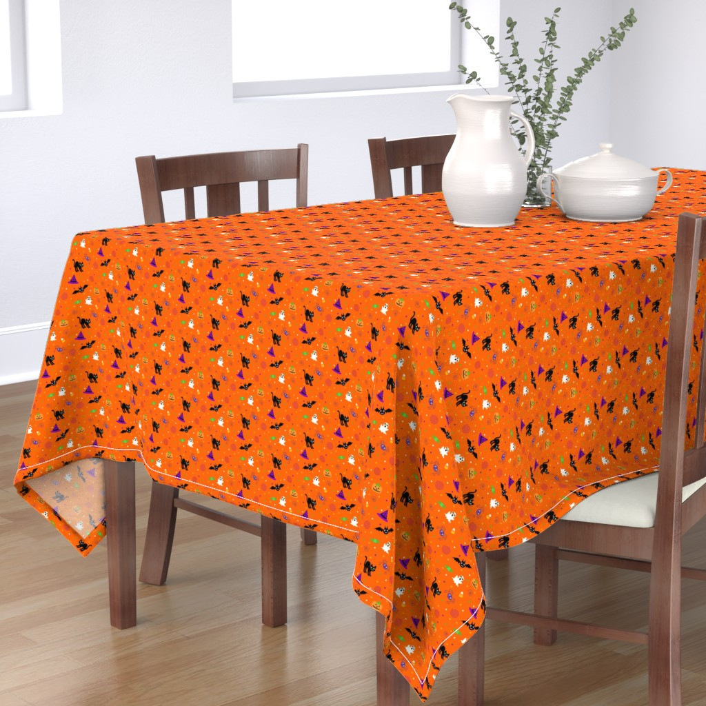 Bantam Rectangular Tablecloth featuring halloween_ditsy_print_fabric by mejo