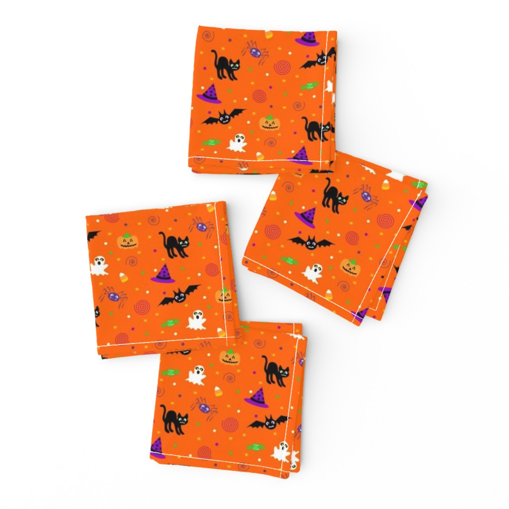 Frizzle Cocktail Napkins featuring halloween_ditsy_print_fabric by mejo