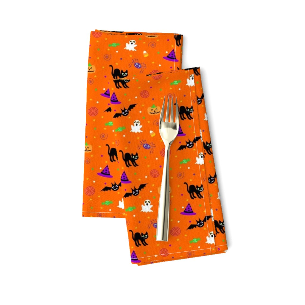 Amarela Dinner Napkins featuring halloween_ditsy_print_fabric by mejo
