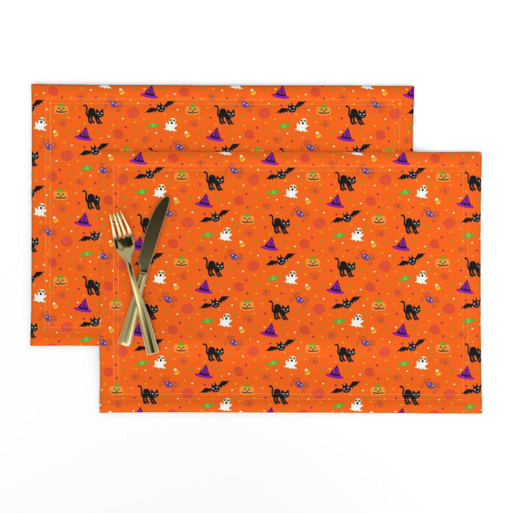 Lamona Cloth Placemats featuring halloween_ditsy_print_fabric by mejo