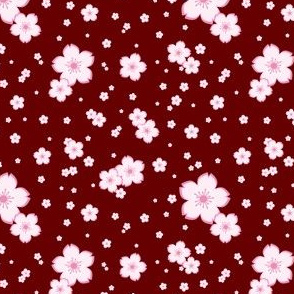 Sweet Sakura in Pink on Red
