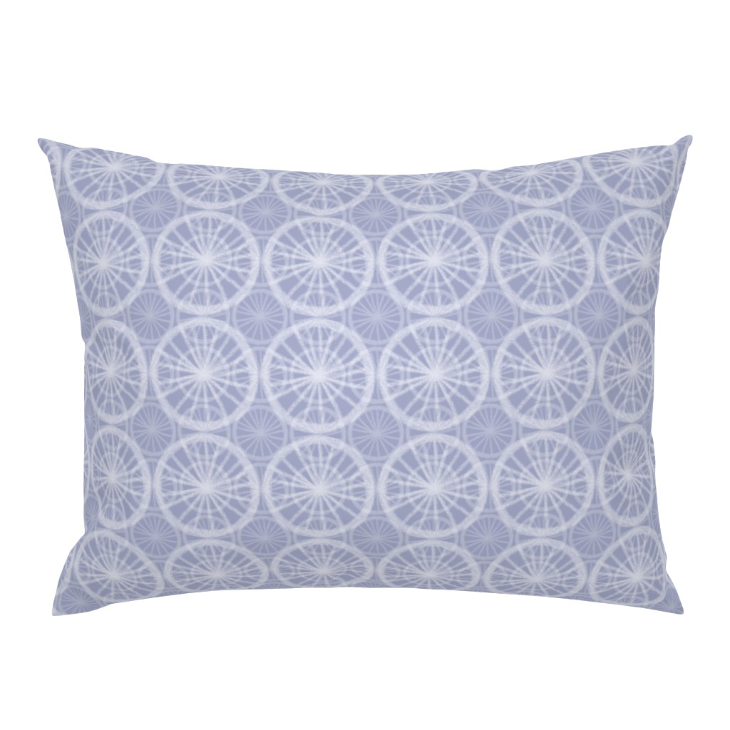 Campine Pillow Sham featuring Big wheels on small wheels, in pale white chalk on soft Prussian Blue, by Su_G by su_g
