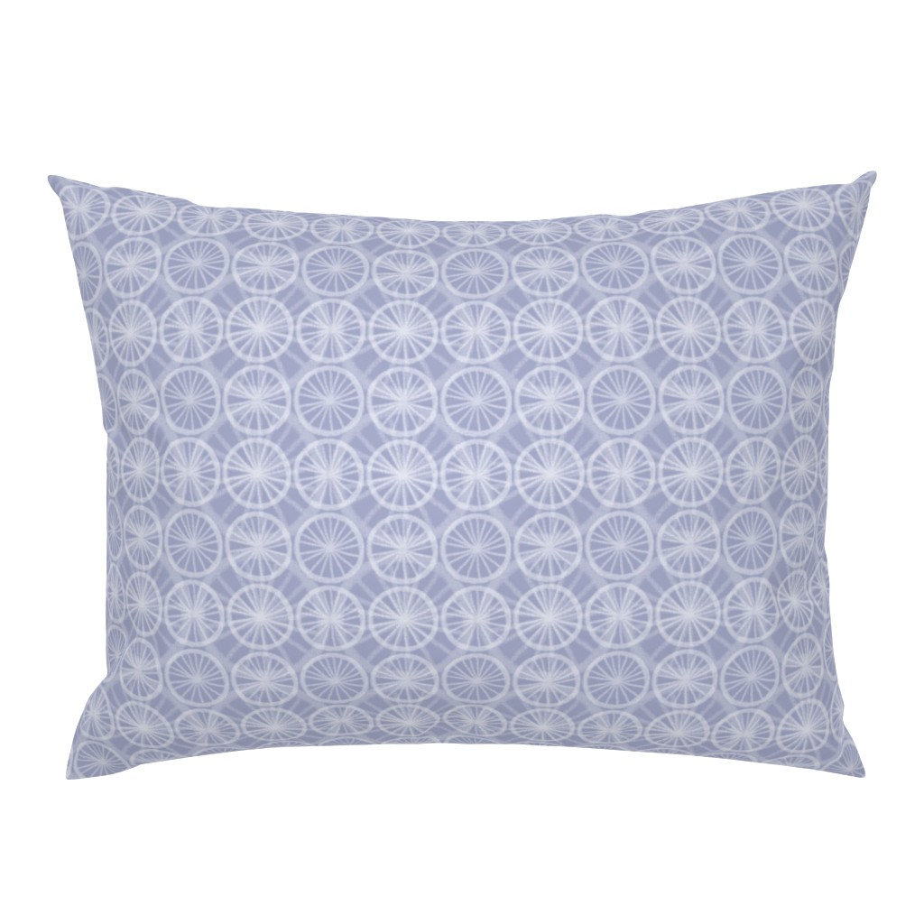 Campine Pillow Sham featuring Small wheels on big wheels, in pale white chalk on soft Prussian Blue, by Su_G by su_g