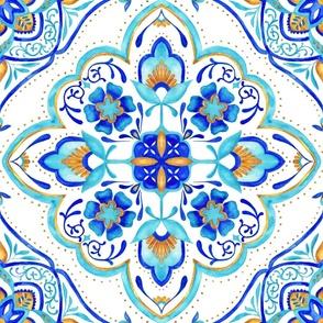 Hand Painted Moroccan Tile - Aqua