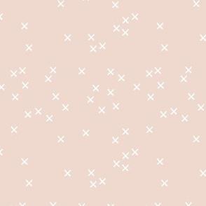 Basic geometric raw brush crosses pattern soft blush beige SMALL