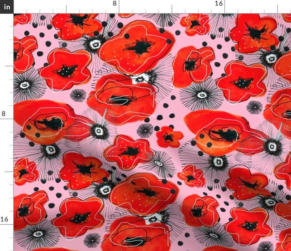 Poppy Seeds And Flowers Spoonflower