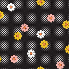 Meadow* (Black) || flower flowers floral daisy daisies polka dots 70s retro vintage