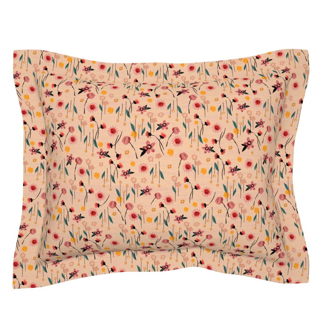 Sebright Pillow Sham featuring Soft Pink Floral by sarah_treu