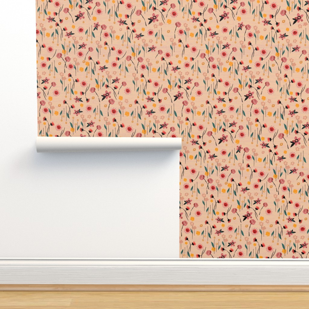 Isobar Durable Wallpaper featuring Soft Pink Floral by sarah_treu